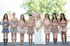bridesmaids in cowboy boots - via 3 Cute Cheap Wedding Cowboy Boots