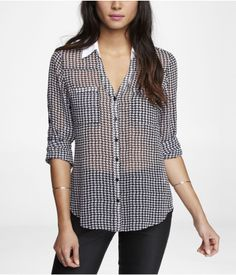 HOUNDSTOOTH CONVERTIBLE SLEEVE PORTOFINO SHIRT | Express $59.90