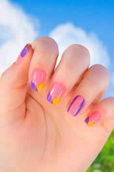 Rapunzel Nail Art: Color Block Edition   Tangled manicure tutorial   [ https://style.disney.com/beauty/2016/07/07/rapunzel-nail-art/ ]