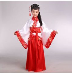 Girl ancient Chinese traditional national costume Hanfu red dress princess children hanfu dresses cosplay clothing girls kids3