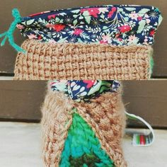 Hand bag made with croche and fabric.