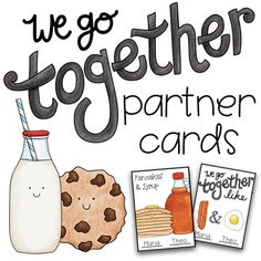 We Go Together Partner Cards Burger And Fries, Burgers, Partner Cards, No Egg Pancakes, Coffee And Donuts, We Go Together, Different Recipes, Classroom Management, Syrup