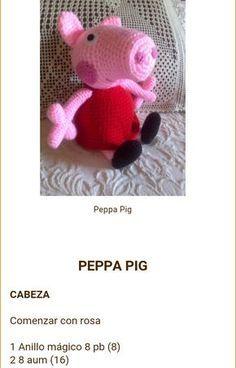 Peppa Pig Crochet, Peppa Pig Amigurumi, Amigurumi Toys, Pepps Pig, Crochet Animals, Crochet Toys, Weaving Patterns, Crochet Patterns, Patron Crochet