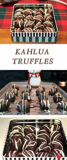 """Kahlua Truffles   2 Cookin Mamas A decadent """"adults only"""" chocolate candy flavored with kahlua & a hint of coffee, drenched in dark chocolate then drizzled with white chocolate. #recipe"""