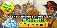 "Limited Time In-App SALE on Stand O' Food® City: Virtual Frenzy!  Save 40% with our irresistible In-App SALE! For one week only, get the ""Cluster of 42 Diamonds"" in Stand O' Food® City: Virtual Frenzy for as low as $2.99. Hurry to take advantage of this incredible proposition and build your burger dynasty!   Learn more: g5e.com/sale"