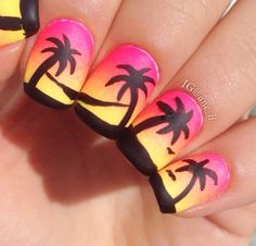 Pretty Nail Art Designs For Summer 18 - style you 7 Nautical Nail Designs, Nautical Nail Art, Orange Nail Designs, Cool Nail Designs, Dragonfly Nail Art, Palm Tree Nail Art, Daisy Nail Art, Bright Nail Art, Pretty Nail Art
