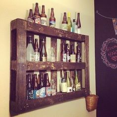 A Pallet beer rack. Finally a way to display my micro-brewery collection from our travels!