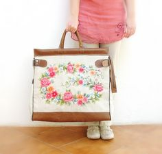 Romantic Getaway Weekender  Leather Embroidery and by StarBags, $383.00