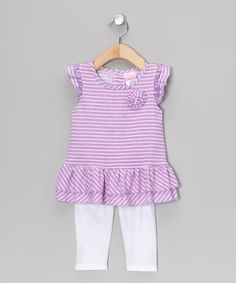 Take a look at this Purple Stripe Rose Tunic & White Leggings - Infant & Toddler by Angel Face on #zulily today!
