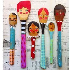 DIY Crafts : noodle and lou studio.paint contemporary illustration style spoon people with your kids or art and craft club Wooden Spoon Crafts, Wooden Spoons, Diy Projects To Try, Art Projects, Diy For Kids, Crafts For Kids, Painted Spoons, Diy And Crafts, Arts And Crafts