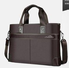 Business Casual Men's Handbag Men Briefcase File Package Black PU Leather Canvas Stripe Shoulder Laptop Bags Male Bolsa Mochila