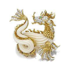 A coral, diamond and emerald sea dragon brooch, Van Cleef & Arpels - Alain R. Truong