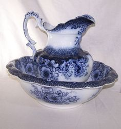 pitcher and basin set   ... Flow Blue Pitcher and Bowl Set – Ormonde Pattern by Alfred Meakin