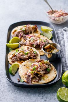 Steak Street Tacos with Chipotle Lime Coleslaw Recipe Mexican Food Recipes, Beef Recipes, Ethnic Recipes, Yummy Recipes, Dinner Recipes, Quesadillas, Burritos, Nachos, Cinco De Mayo