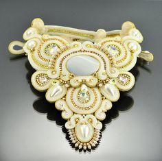 Bridal Weddind Soutache Necklace Kepingan Salji от OzdobyZiemi