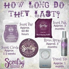 How long do the scents last, you wonder?? Look no further! Get your long lasting Scentsy scents today!  jdickison.scentsy.us