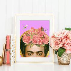 Frida Kahlo stampa fiore collage art poster di ArtisticSideOfLife