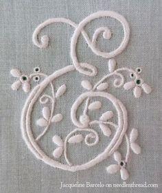 Hand Embroidered E Monogram