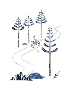 Illustration of trail cycling and bike packing for Oh Comely Magazine by Pádhraic Mulholland. www.ohcomely.co.uk