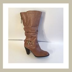 "Guess Mallay Wide Calf Boots Brand new. Worn once. Size 6.5. Round toe. Leather construction. Side buckle strap detail. Rushed vamp. Goring at opening. Partial side zip and back zip closure. Approx 11 7/8"" shaft height. Approx 3.25"" heel. 15% off two items or more.  Trades  PP. Reasonable offers always welcome Free shipping with orders over $75  Guess Shoes Heeled Boots"