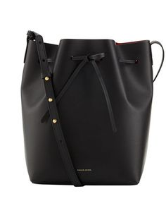 Structured Leather Bucket Bag, Black/Red by Mansur Gavriel at Bergdorf Goodman.