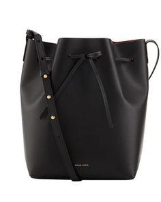 Structured Leather Bucket Bag, Black/Red by Mansur Gavriel at Bergdorf Goodman.