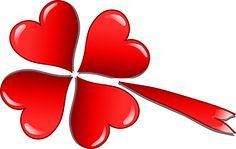 クローバー, 三葉, 愛, 心, シューティング スター, バレンタイン, 赤