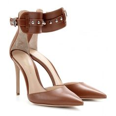 Gianvito Rossi Leather Pumps (439 AUD) ❤ liked on Polyvore featuring shoes, pumps, heels, high heels, brown high heel pumps, real leather shoes, leather high heel shoes, brown leather shoes and heels & pumps
