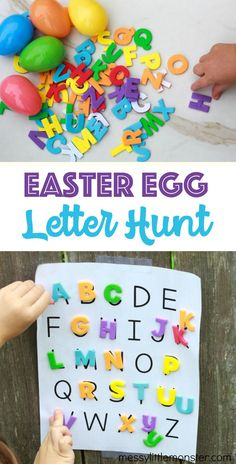 Easter egg letter hunt for kids. A fun Easter activity with alphabet printable. # spring activities for kids Easter Egg Letter Hunt Easter Activities For Kids, Toddler Learning Activities, Spring Activities, Easter Crafts For Kids, Toddler Crafts, Preschool Activities, Kids Learning, Easter Crafts For Preschoolers, Easter Ideas For Kids