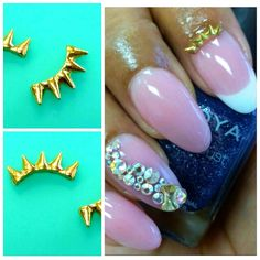 ** Product of the Day ** Gold Crown Spikes  Add some bad ass-ness to your mani with these gold studs.  Shop Now: MyPrettyPieces.com  http://myprettypieces.com/product/gold-crown-spikes