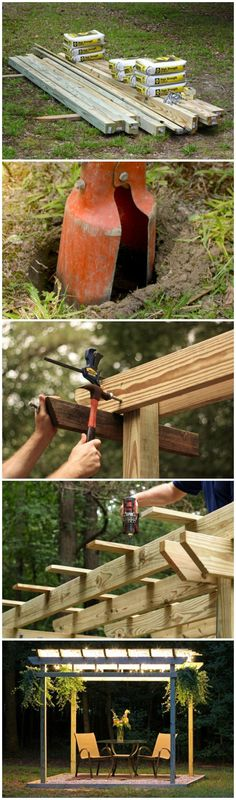 How to Build a Pergola from Scratch --> http://www.hgtvgardens.com/hardscaping/how-to-build-a-wood-pergola?soc=pinterest #pergolakitsdiy