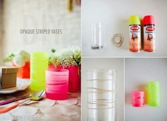 DIY opaque striped vases