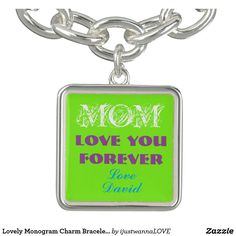 "Personalized Square Green Charm Silver Plated Bracelet For Mom, for Mother's Day Gifts. Customize easily quickly automatically to CHANGE TO YOUR OWN NAME on the wonderful Spring Green Charm. Charming Bracelet for every occasion, adorable charm Bracelet for beloved Mom saying ""Mom, you are so loved. Love David. Own this unique Bracelet TODAY SHOP NOW! 30 Day Money Back Guarantee. Fast Worldwide shipping. Gift wrapped in a special black felt bag perfect for gifting. $25.65"