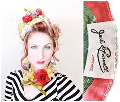 1960s Hat / VINTAGE / Jack McConnell / Designer Hat / Matching Collar / Flowers / Kitschy by HighHatCouture on Etsy