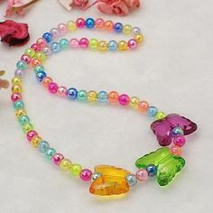 Lovely Transparent Acrylic Necklaces for Children's Day Gift, with Elastic Crystal Thread, Colorful