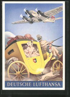 old postcard: Künstler-AK Flugzeug Junkers Ju 52 über einer Postkutsche, Reklame der Deutsche Lufthansa