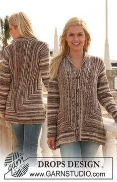 Casaco DROPS tricotado de um lado ao outro, em ponto jarreteira em Fabel – Tamanhos S-XXXL  Modelo gratuito de DROPS Design.