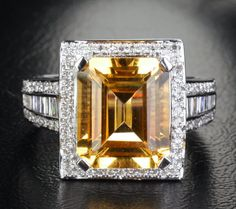 6.56ct Emerald Cut Citrine .88ctw Baguette/Round Diamonds 14KT White Gold Ring   eBay