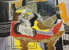 transistoradio:  Georges Braque, Still Life with Guitar I (Red Tablecloth) (1936), oil on canvas, 51 x 38 ¼ in inches. Collection of The Norton Museum of Art, West Palm Beach, Florida, USA. Via Vanity Fair.