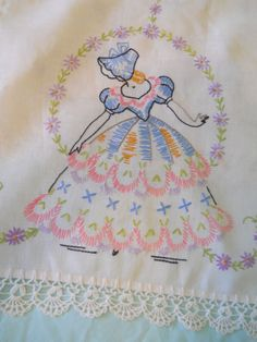 Vintage Embroidered Dresser Scarf Table Runner With by cyndalees, $17.00
