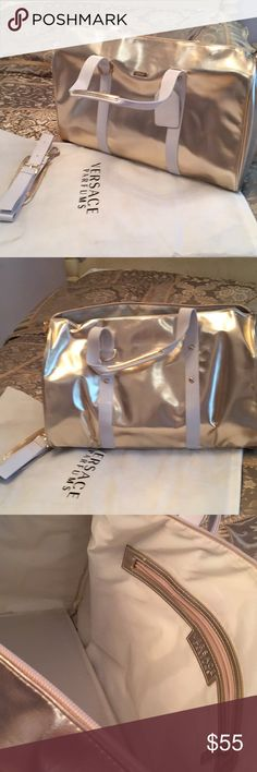 Pale champagne gold and white duffel bag. Brand new! Includes shoulder strap and dust bag. Zipper top with pocket inside. Light champagne color. Versace Bags Travel Bags