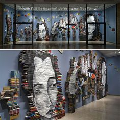beautiful painting installation - on the spine of books {mike stilkey}