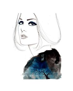 original watercolor and mixed media fashion illustration by Jessica Durrant titled The Lone Tree. via Etsy.