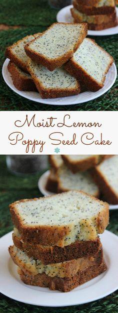 Moist Lemon Poppy Seed Cake has a little zing of sweet lemon freshness. It looks like a bread but tastes like a cake.