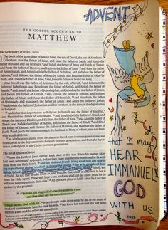 Vintage Grace Advent journaling in Bible.  Book of Matthew.
