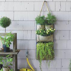 Hanging Bag Planter, Long Multiple Pocket, Natural Black Finish