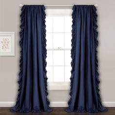 Reyna Window Curtain Panels Navy Set - Lush Decor ruffle boarder adds to the elegance and simplicity of this solid window panel. Sold in Pairs, Rod Pocket slides onto curtain rod for quick and easy installation. Sheer Curtain Panels, Curtain Sets, Window Panels, Window Curtains, Open Window, Bedroom Curtains, Drapery, Valance, Ruffle Curtains