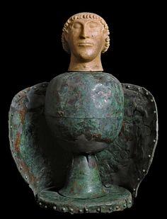 Canopus head, from Dolciano (Chiusi). VI Century BC. - Bronzo e terracotta, 72 cm - Museo Archeologico Nazionale, Chiusi