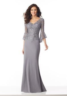 Stunning Lace & Chiffon V-neck Neckline Full-length Mermaid Mother Of The Bride . - - Stunning Lace & Chiffon V-neck Neckline Full-length Mermaid Mother Of The Bride Dress With Lace Appliques & Beadings Neckline Dress Models A Line Lace. Evening Gowns With Sleeves, Lace Evening Gowns, Dresses With Sleeves, Mother Of The Bride Dresses Long, Mothers Dresses, Mother Bride Dress, Brides Mom Dress, Mother Of The Bride Hair, Mob Dresses