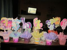 All the blinged out centerpieces for my little pony